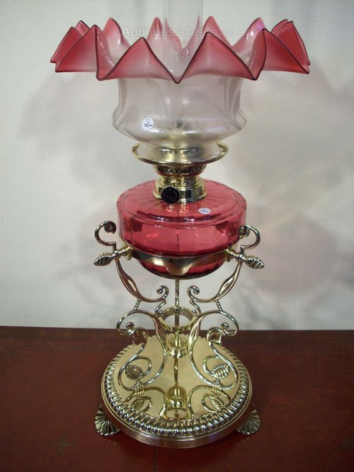 Antiques Atlas Victorian Ruby Glass Oil Lamp Amp Shade