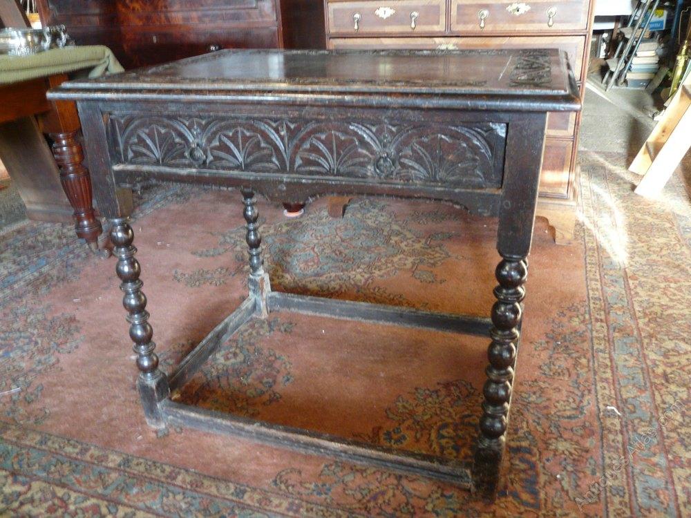 Ornate Victorian Carved Oak Side Table Antique Side Tables ...
