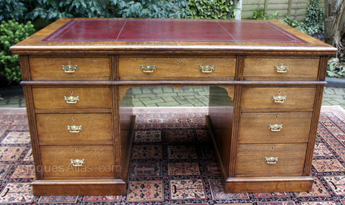 Antique English Oak Pedestal Desk ... - Antique English Oak Pedestal Desk - Antiques Atlas