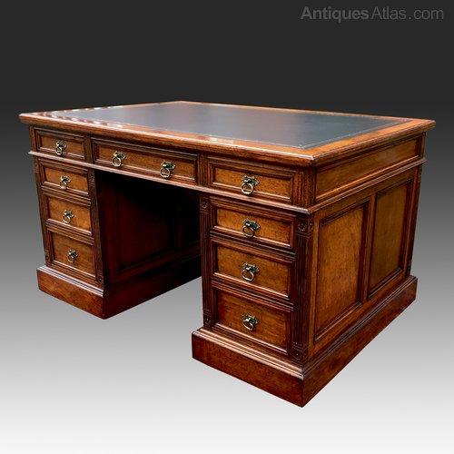Astounding Antique Pollard Oak Partners Desk Download Free Architecture Designs Scobabritishbridgeorg