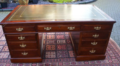 Large Antique Mahogany Partners Desk ... - Large Antique Mahogany Partners Desk - Antiques Atlas