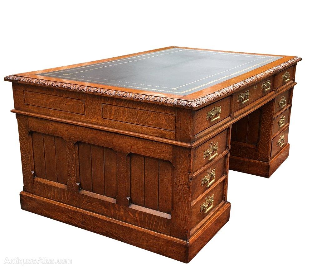 Large Antique Oak Gothic Revival Pedestal Desk ... - Large Antique Oak Gothic Revival Pedestal Desk - Antiques Atlas