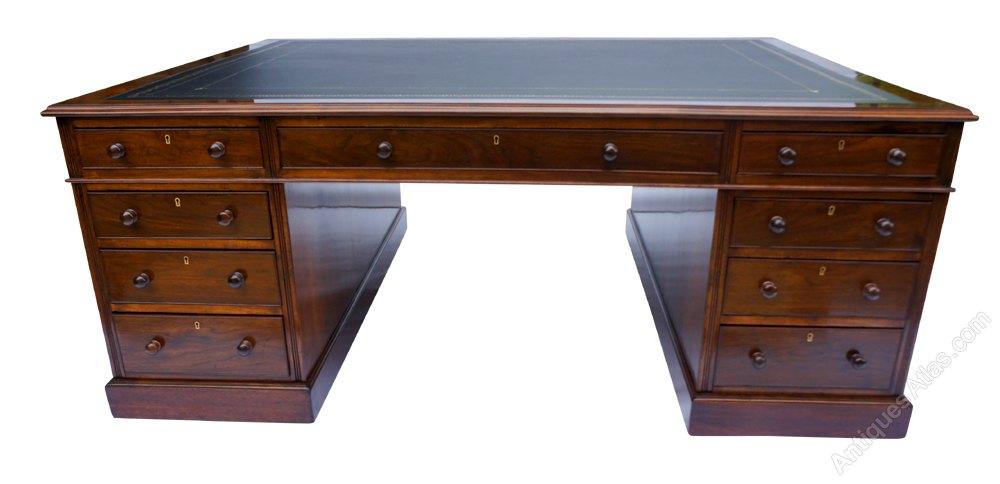 Large Antique Red Walnut Partners Desk Desks