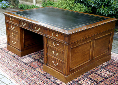 Large English Antique Oak Partners Desk