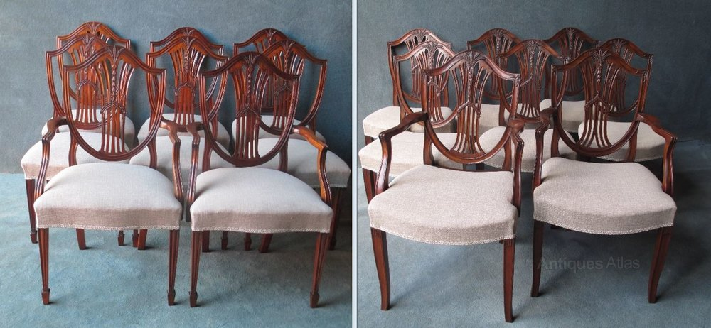 ... Shield Back Chairs Set of 8 Antique Dining Chairs ... - 6+2 Mahogany Hepplewhite Style Shield Back Chairs - Antiques Atlas