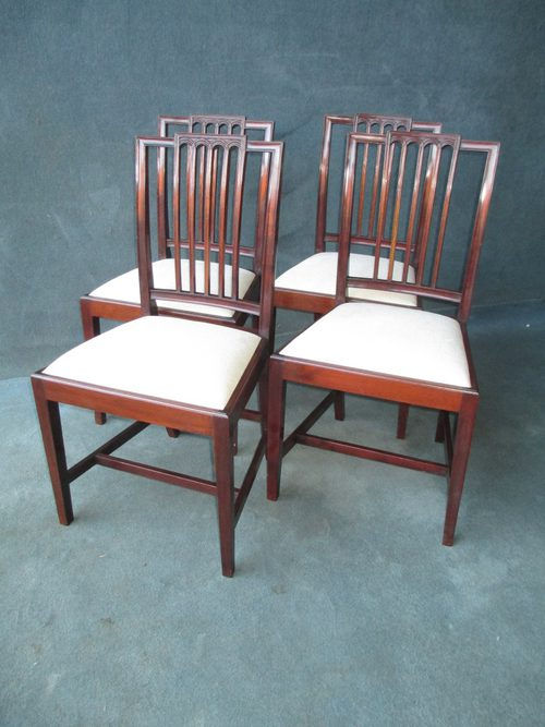 A Set Of 4 Sheraton Stick Back Dining Chairs ... - A SET OF 4 SHERATON STICK BACK DINING CHAIRS - Antiques Atlas