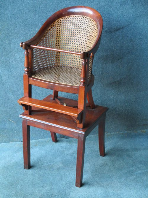 A Victorian Mahogany And Caned Childs High Chair ...