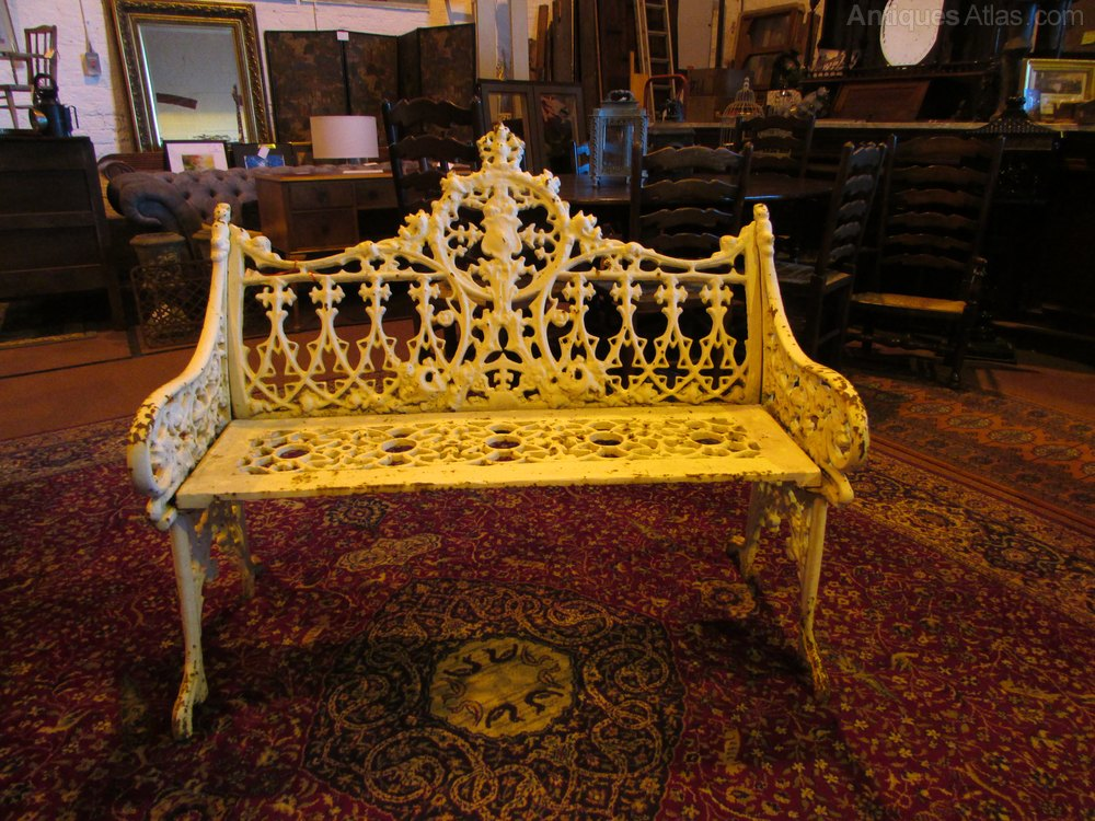 Cast Iron Bench >> Antiques Atlas - Victorian Wrought Cast Iron Bench.