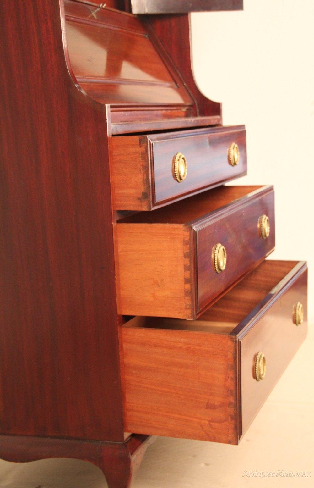 Art Nouveau Mahogany Bureau Bookcase - Antiques Atlas