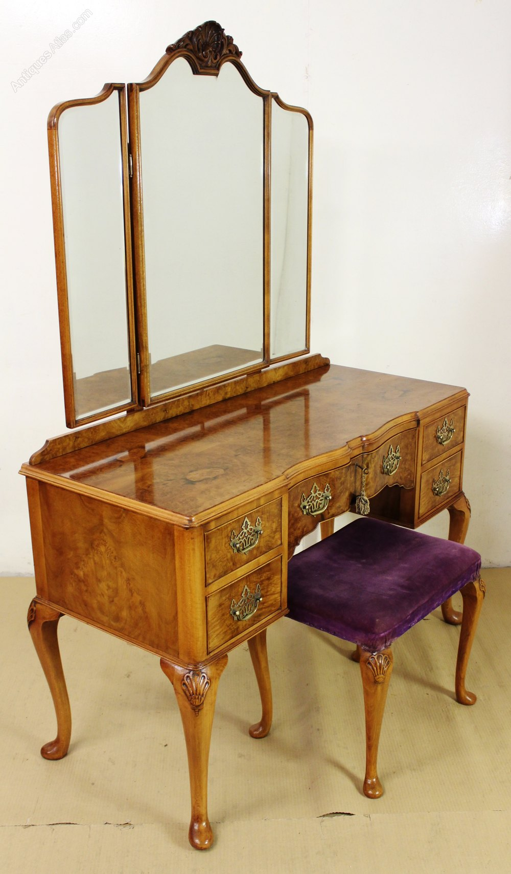 Dressing Table Chairs And Stools: Burr Walnut Dressing Table And Stool