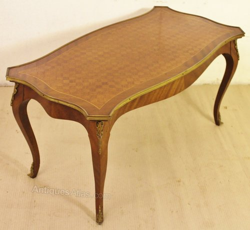 French Parquetry Coffee Table: French Kingwood Parquetry Coffee Table