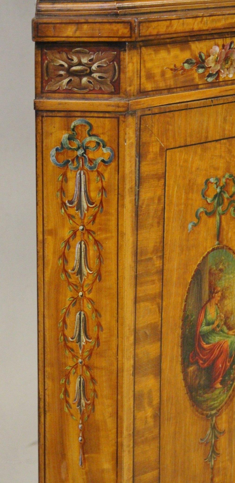 Painted Satinwood Display Cabinet Antiques Atlas