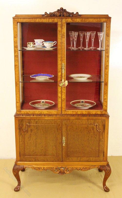 Queen Anne Style Burr Walnut Display Cabinet