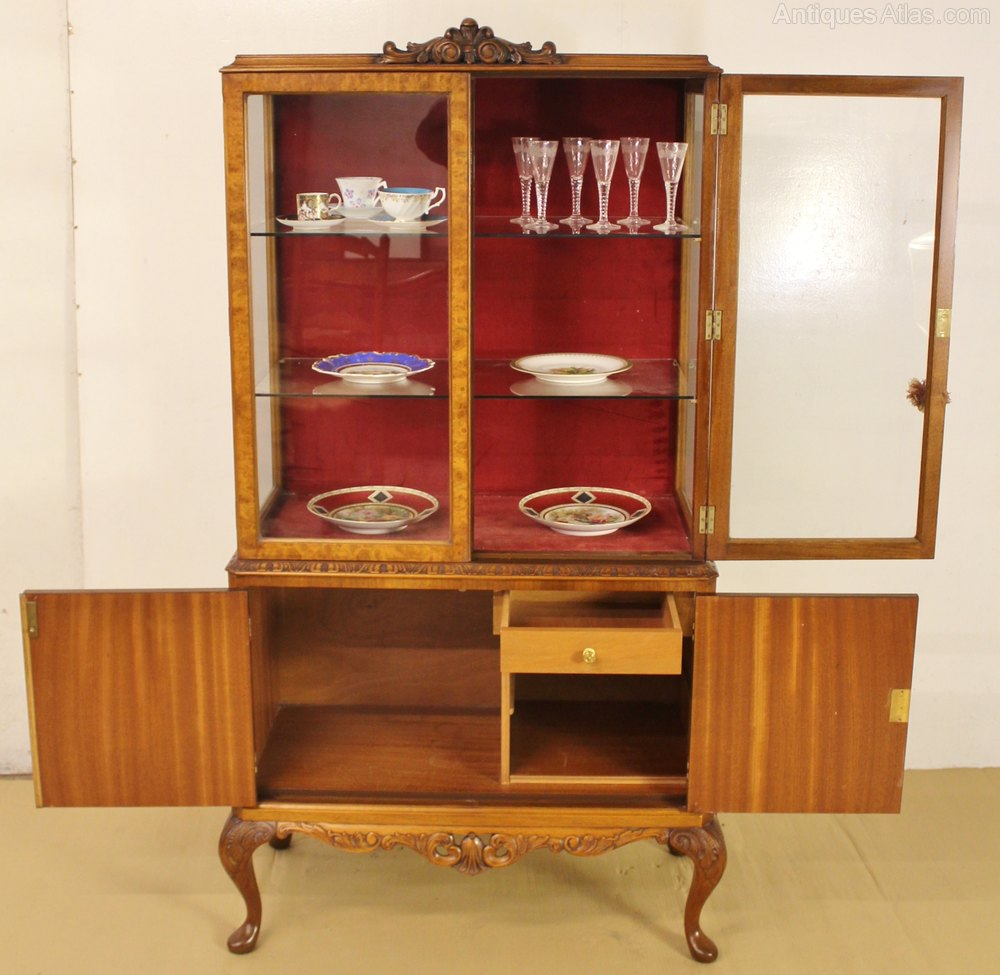 Queen Anne Style Burr Walnut Display Cabinet Antique Display Cabinets ...