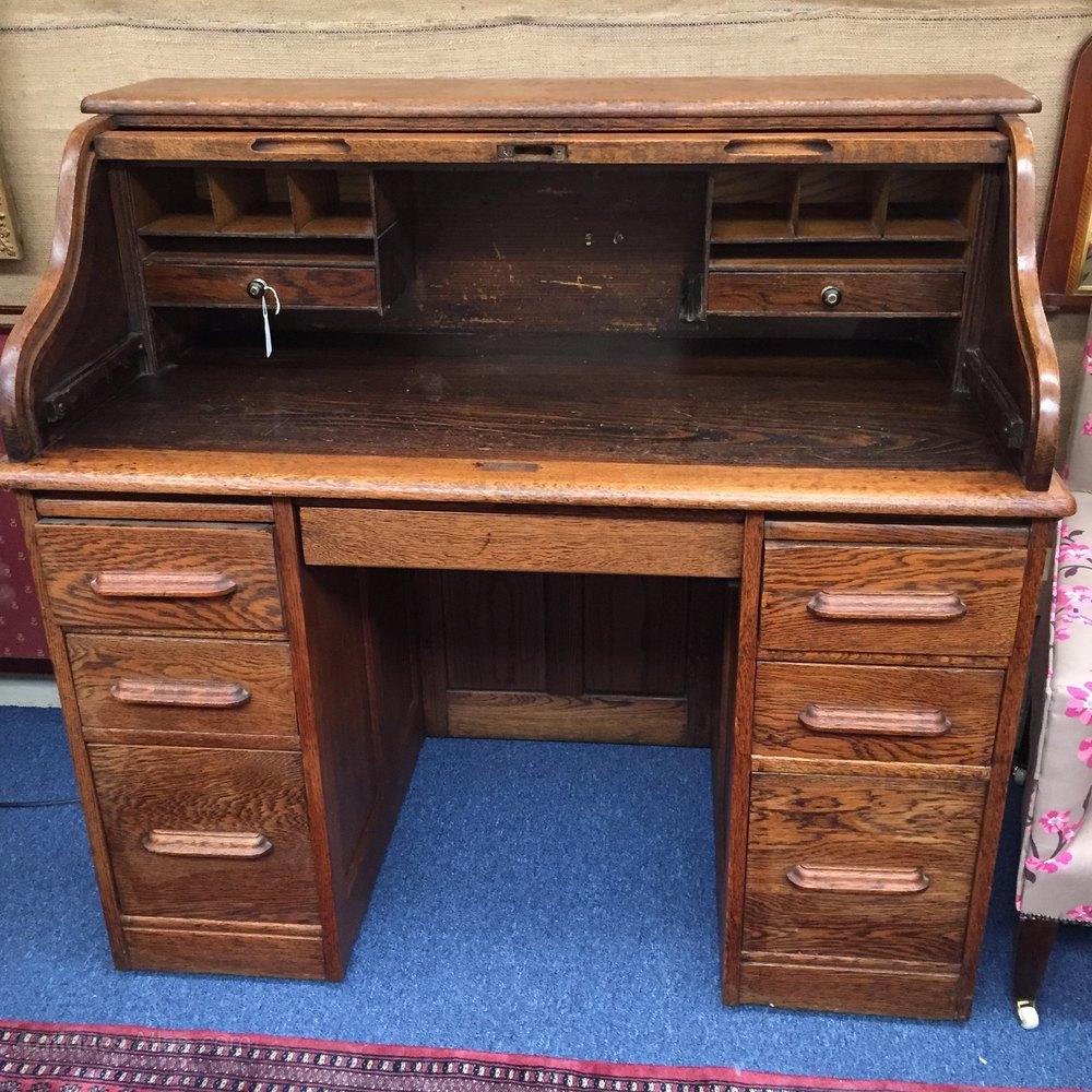 Scottish Oak Roll Top Desk