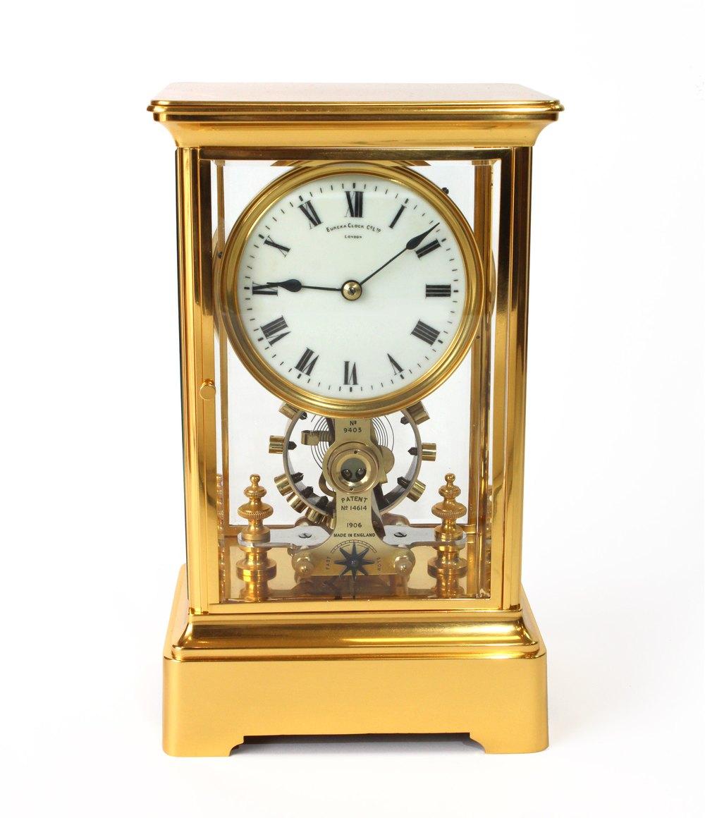 Antiques Atlas Eureka Gilded Brass Four Glass Electric Clock