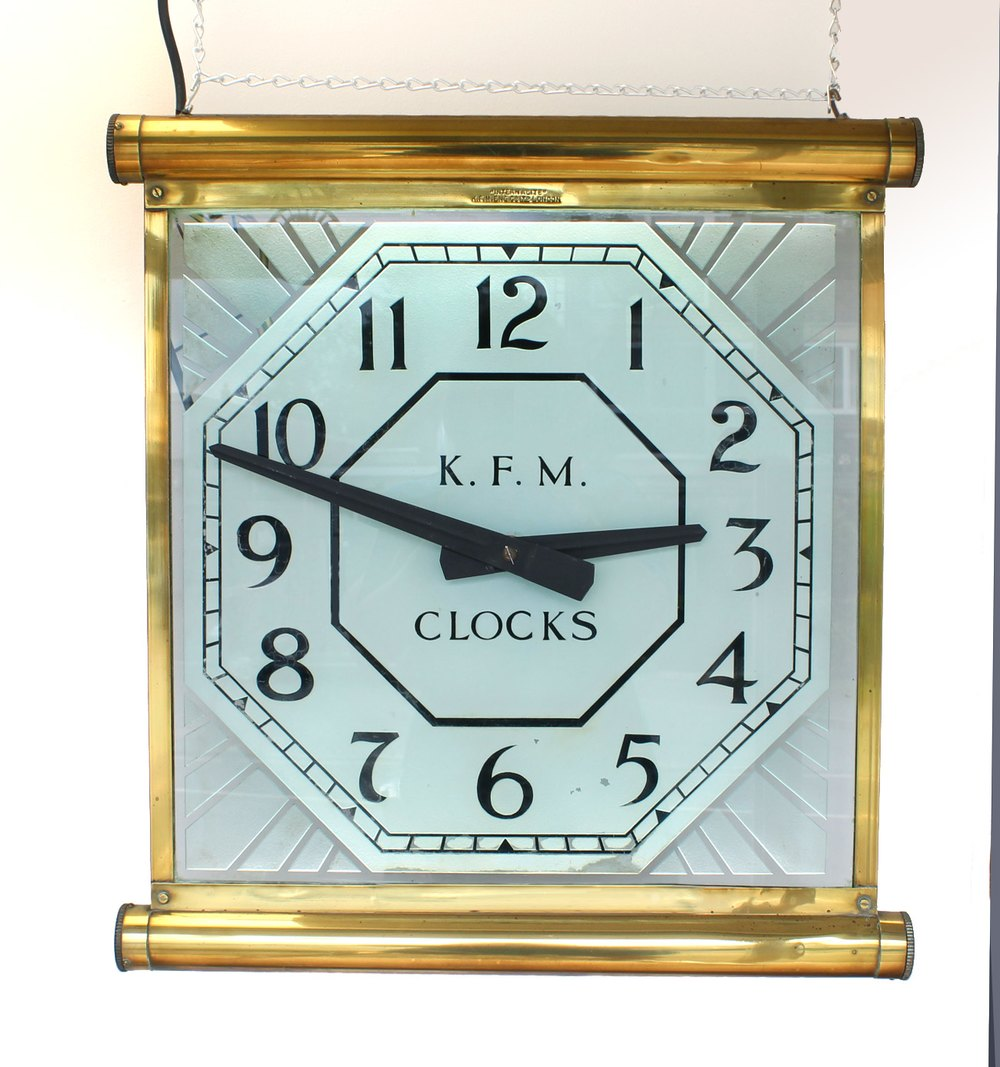 Antiques Atlas Kfm Glass Wall Clock With Internalite
