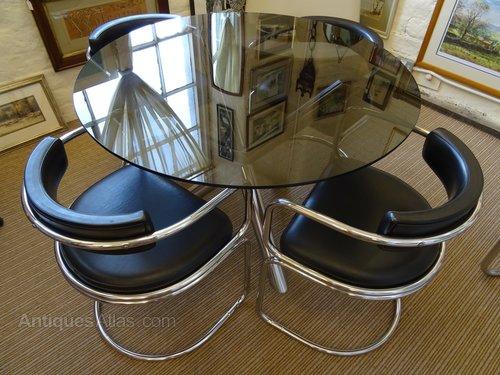 Italian Glass Chrome Dining Table Set, Vintage Chrome Dining Room Sets