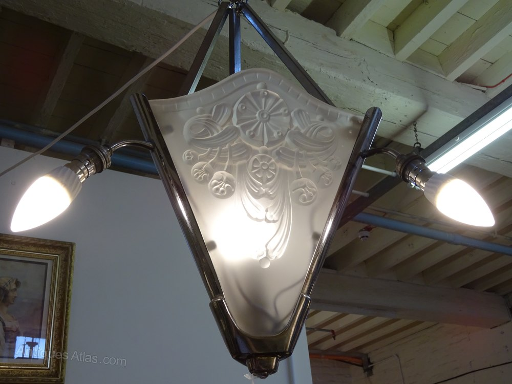 Antiques Atlas Art Deco Chrome Amp Glass Ceiling Light