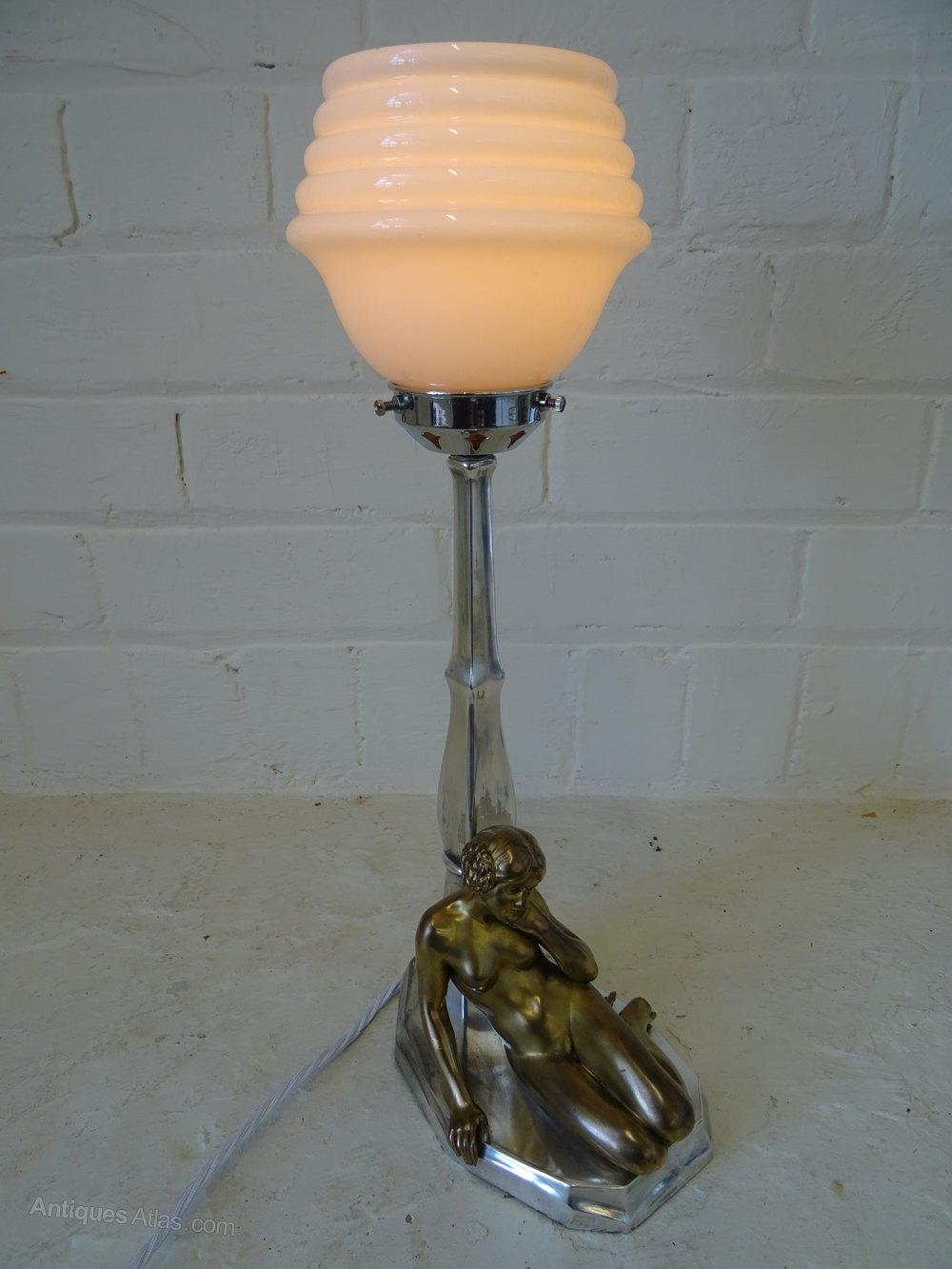 Antiques Atlas - Art Deco Nude Figurine Table Lamp.