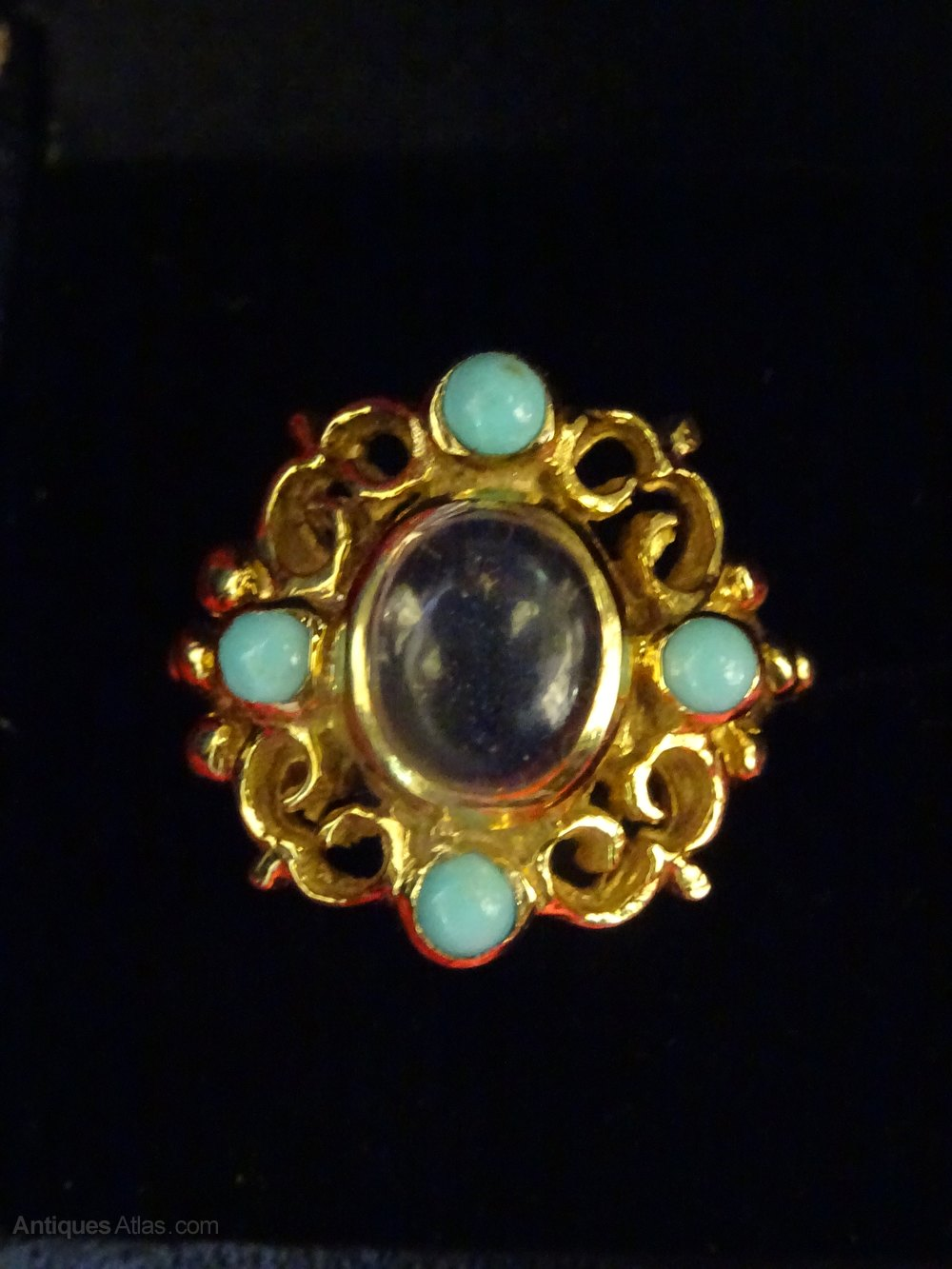 Antiques Atlas Vintage 9ct Gold Moonstone Amp Turquoise Ring