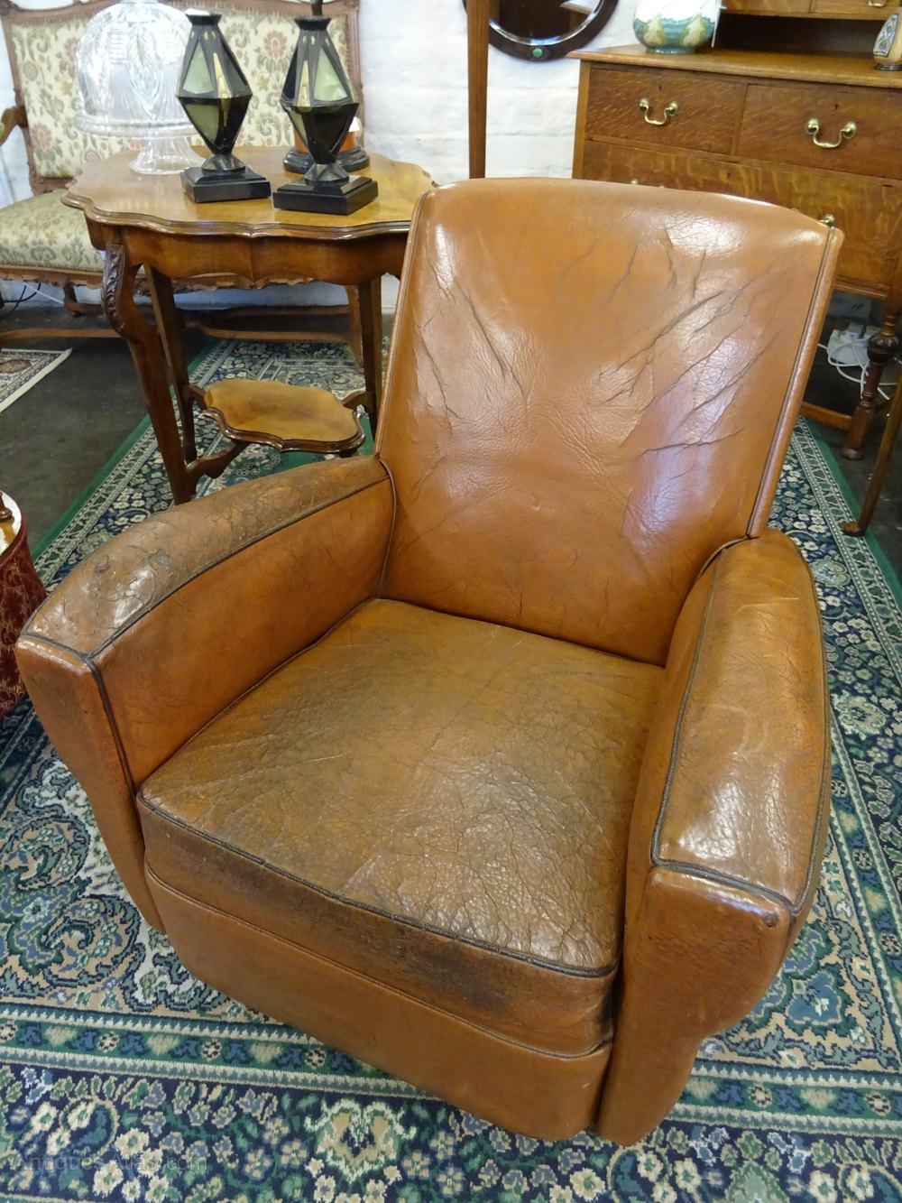 Vintage French Leather Club Chair.