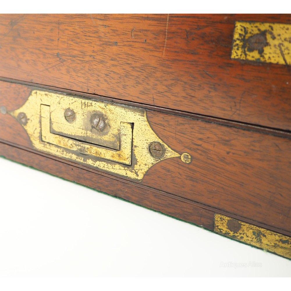 Georgian Gany Brass Campaign Lap Desk Antique Writing Slopes Alt5