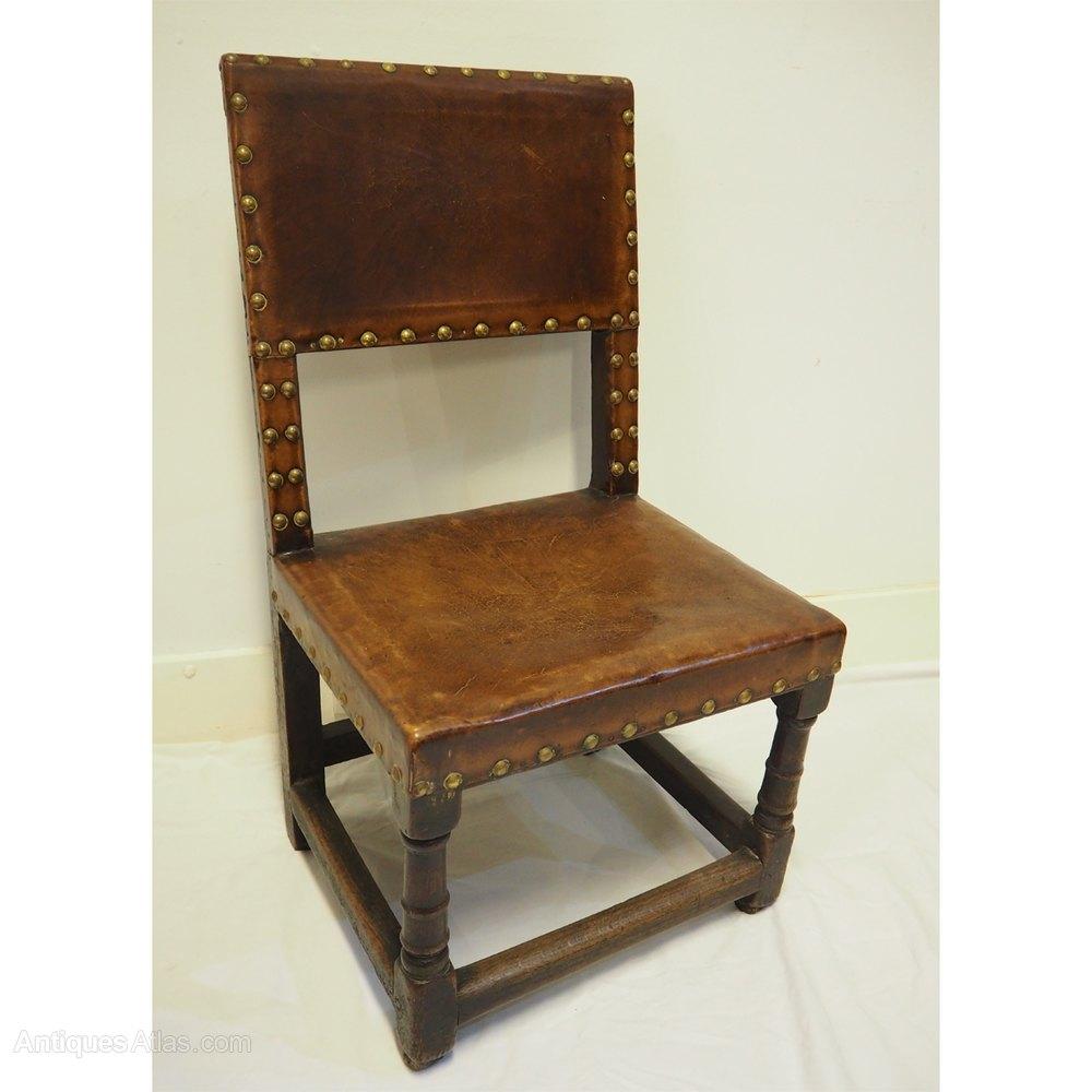 Rare 17th Century Oak Amp Leather Hall Chair Antiques Atlas