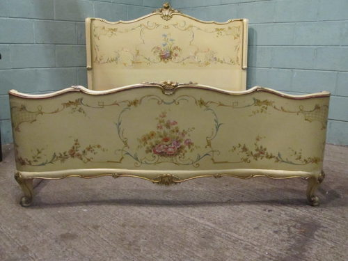 Antique 19th Cent Italian Painted King Size Bed Antiques