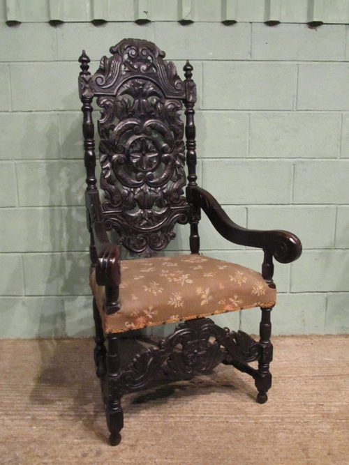 Antique Early Victorian Carved Oak Throne Chair ... - Antique Early Victorian Carved Oak Throne Chair - Antiques Atlas