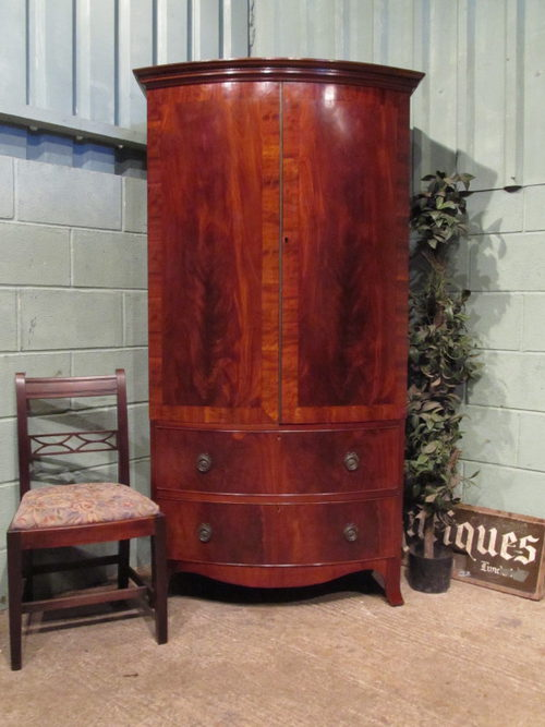 Antique Furniture The Cheapest Price Edwardian Bowfront 2 Door Oak Wardrobe With Key Armoires/wardrobes