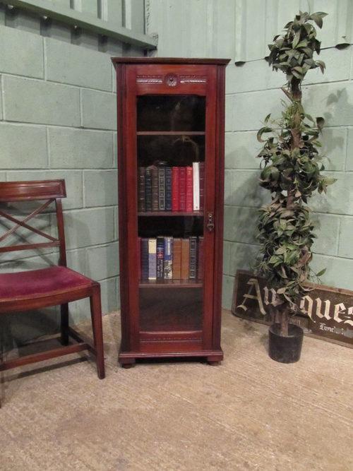 Antique Edwardian Tall Mahogany Narrow Bookcase Antiques Atlas