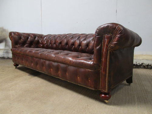 Antique Large Victorian Leather Chesterfield Sofa