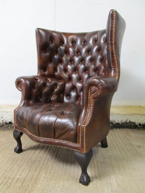 Antique Leather Chesterfield Wing Armchair ... - Antique Leather Chesterfield Wing Armchair - Antiques Atlas