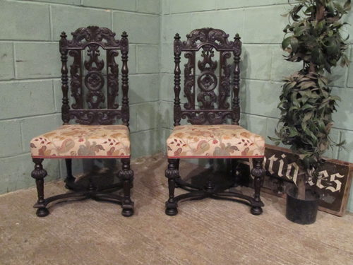 Antique Pair Carved Jacobean Oak Chairs ... - Antique Pair Carved Jacobean Oak Chairs - Antiques Atlas