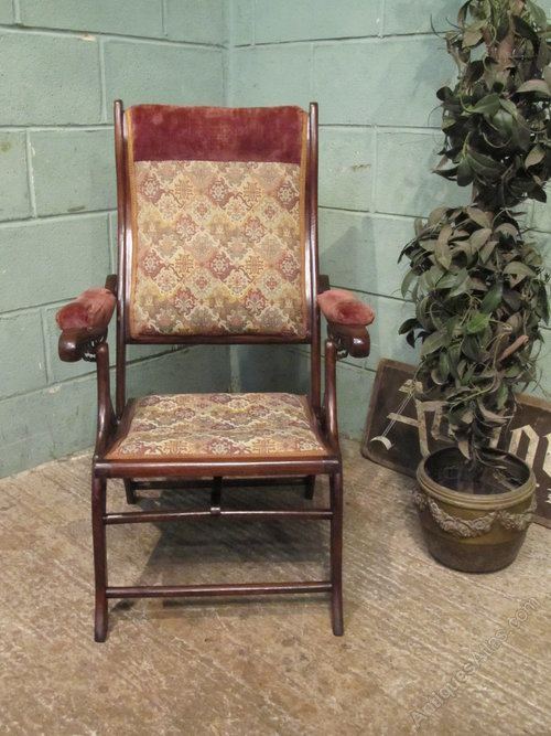 Antique victorian mahogany Folding c&aign Chair ... & Antique Victorian Mahogany Folding Campaign Chair - Antiques Atlas