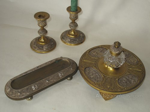 French Ormolu And White Metal Desk Set