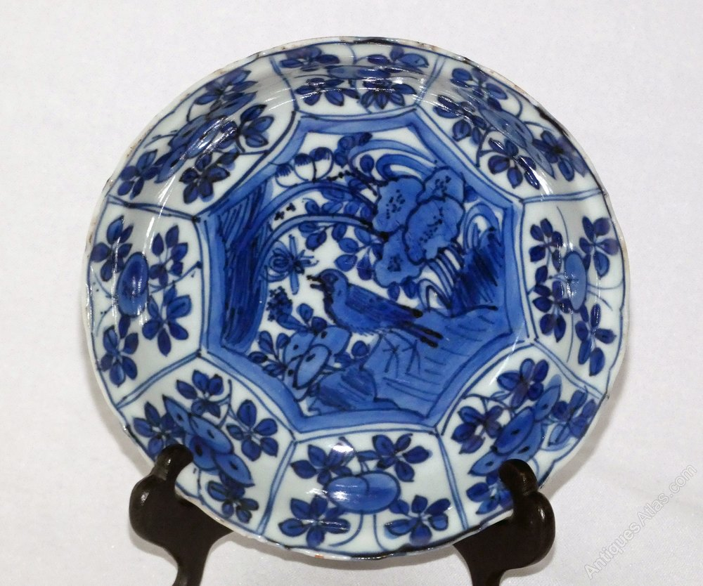 Ming Kraak Blue And White Porcelain Small Plate