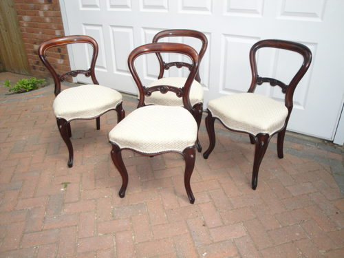 4 Antique Victorian Mahogany Balloon Back Chairs ...