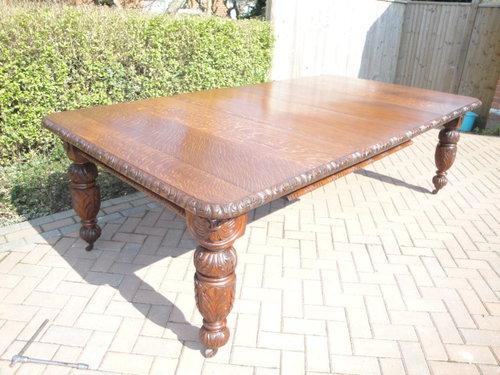 091b5d7232201 Large Antique Carved Oak Extending Dining Table Antiques Atlas