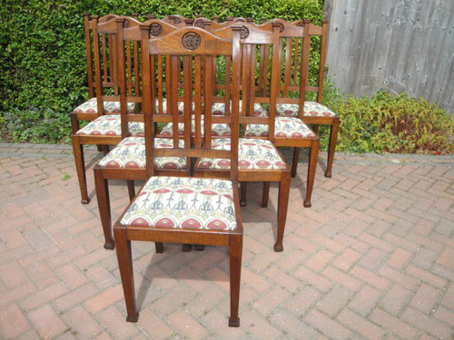 Set 10 Antique Oak Arts Crafts Dining Chairs