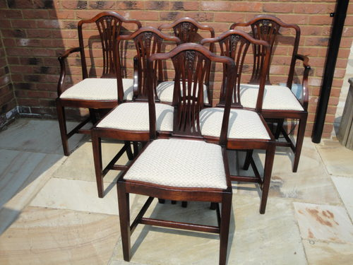 Set 6 Six Antique Mahogany Dining Chairs