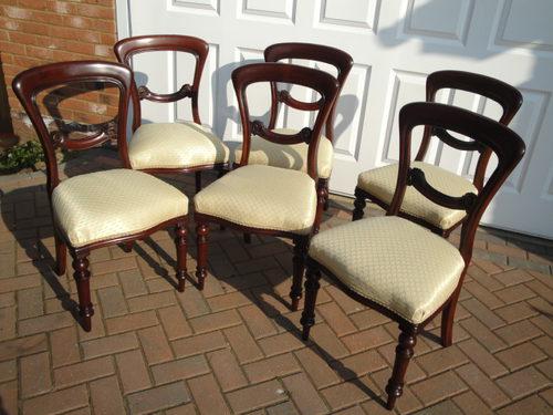 Set 6 Six Antique Victorian Mahogany Dining Chairs ... - Set 6 Six Antique Victorian Mahogany Dining Chairs - Antiques Atlas
