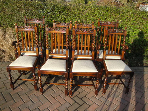 Set 8 Antique Oak Dining Chairs ... - Set 8 Antique Oak Dining Chairs - Antiques Atlas