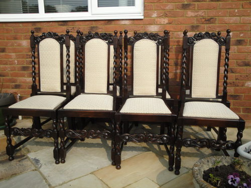 Set 8 Antique Oak Jacobean Style Dining Chairs ... - Set 8 Antique Oak Jacobean Style Dining Chairs - Antiques Atlas