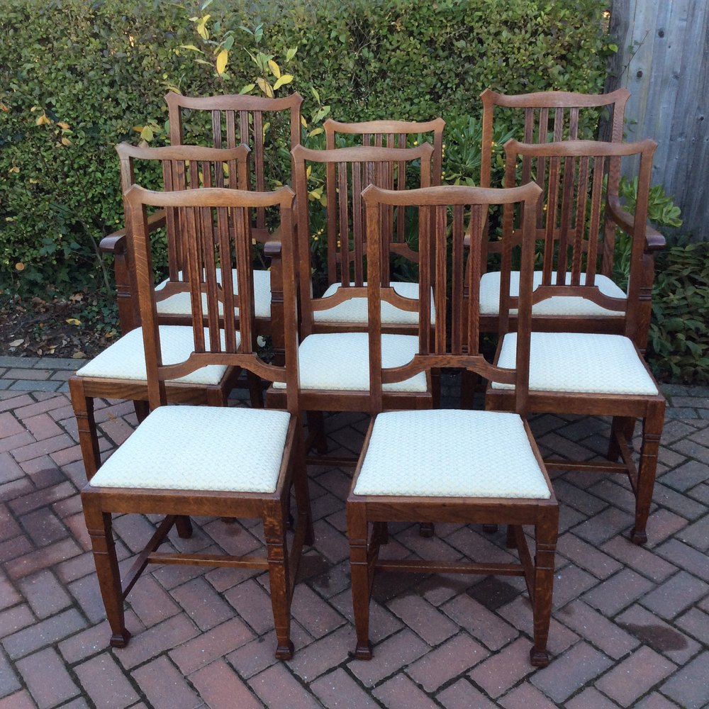 Arts and crafts chairs - Set 8 Arts Crafts Oak Chairs Jas Shoolbred