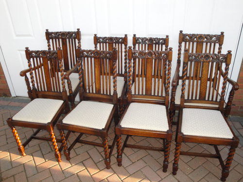 Charmant Set 8 Antique Oak Dining Chairs ...