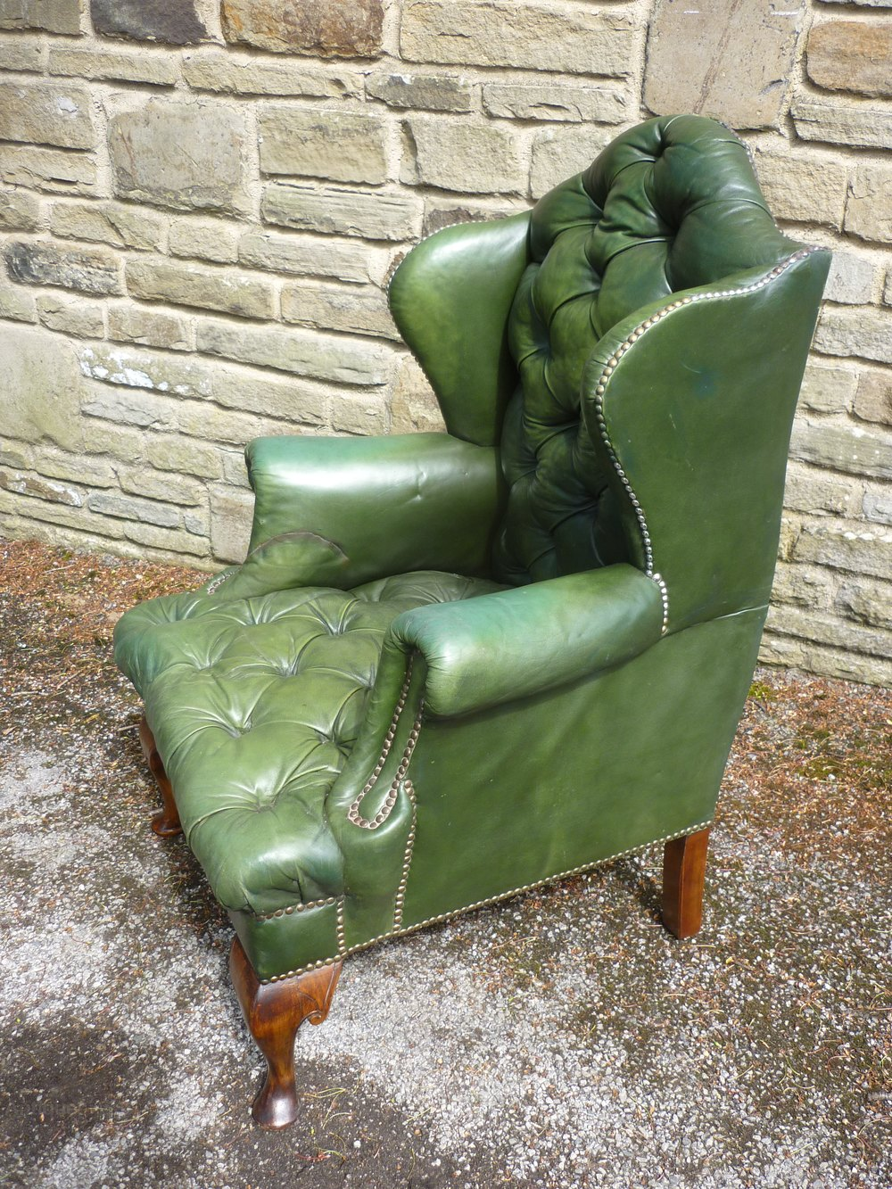 A Victorian Leather Button Back Wing Arm Chair Antiques