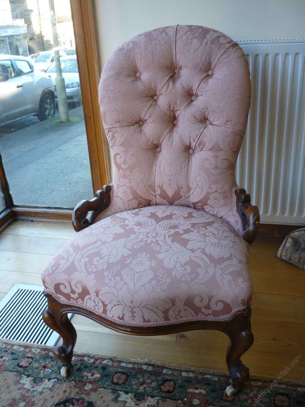 Victorian Nursing Chair, Salmon Pink Upholstery Antique ... - Victorian Nursing Chair, Salmon Pink Upholstery - Antiques Atlas