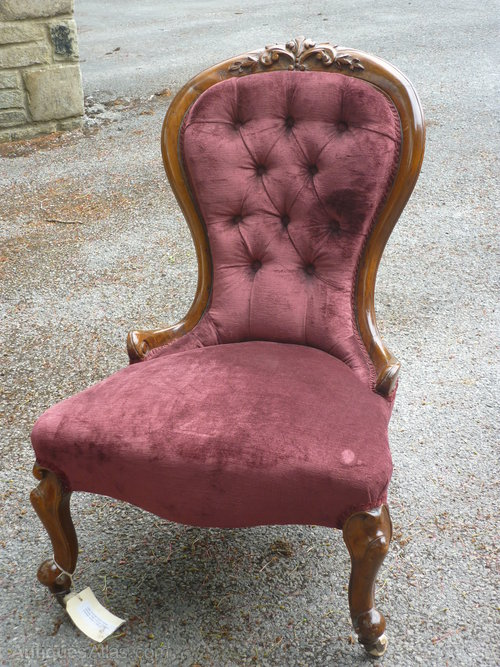 Antique Nursing Chairs ... - Victorian Walnut Nursing Chair Restored. - Antiques Atlas
